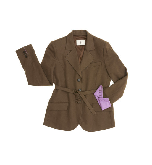 [AND YOU] [조보아 착용]RIVERPOOL three button blazer with belt (Cocoa & Deep lilac)