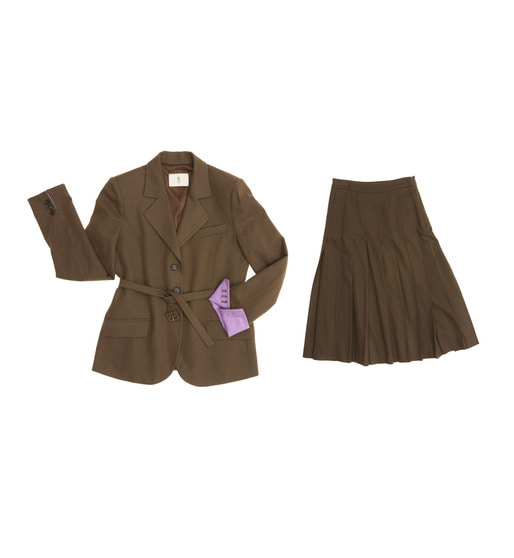 [AND YOU] RIVERPOOL three button blazer with belt (Cocoa & Deep lilac) & VENICE pleated skirt (Cocoa) SET