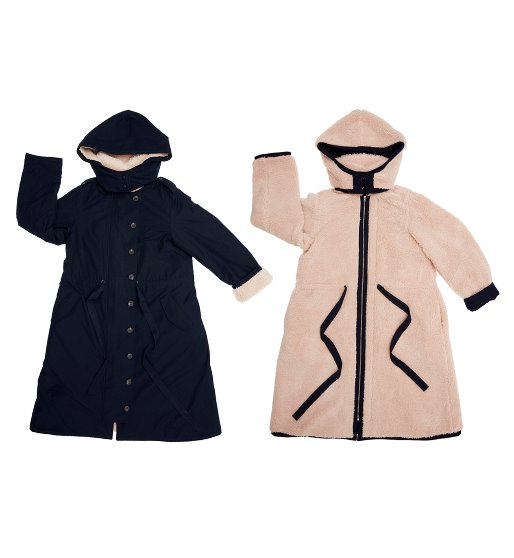 [AND YOU] SAPPORO reversible hoodie coat (Navy & Cream)