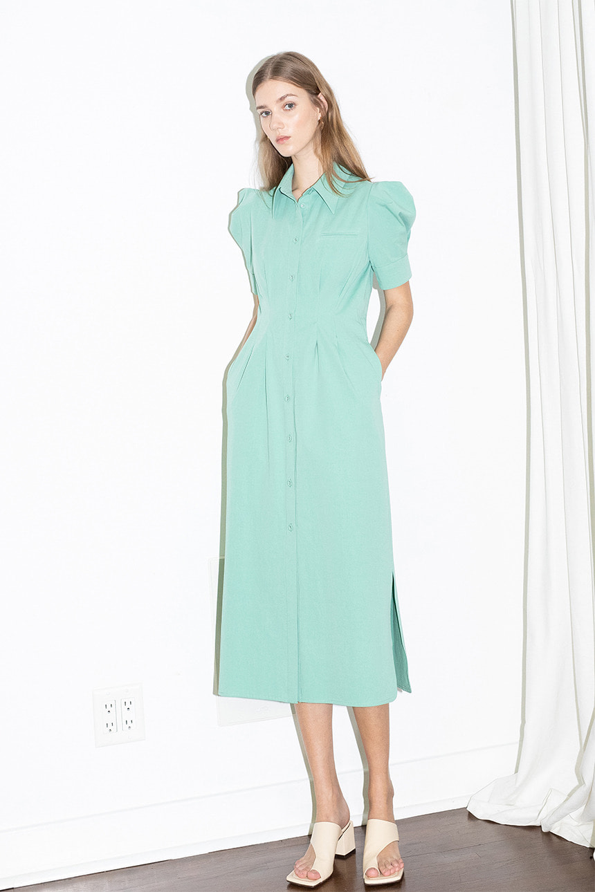 [김나영, 이주빈 착용]FAIRFAX puffed shoulder waist tuck detail shirt dress (Mint)
