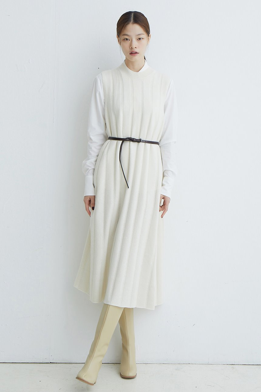 [앤유X노필터TV][한지민 착용]SEOUL FOREST Knit maxi dress (Ivory)