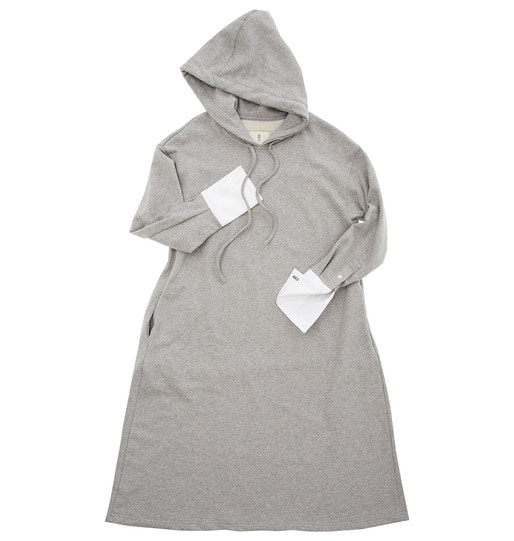[앤유][박신혜 착용]BRISBANE hoodie dress(Melange gray & White)