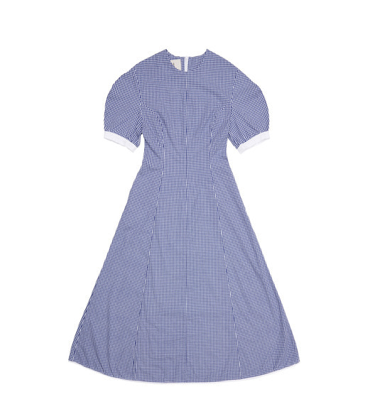 POSITANO bishop short sleeve maxi dress (Blue gingham check & White)