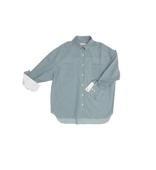 [앤유] VENICE oversized blouse (Deep green gingham check & White)