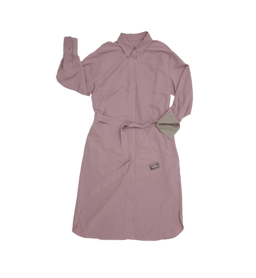 [앤유][기은세 착용]SEOUL over-sized drop shoulder shirt dress (Soft Lilac & Light gray)