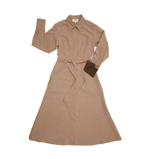 [AND YOU] NEW YORK long sleeve flared shirt dress (Beige & Dark chocolate)