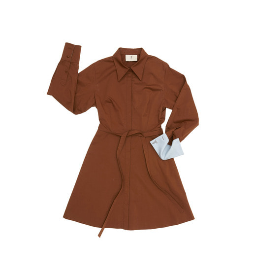[AND YOU] NEW YORK long sleeve flared shirt dress (Short) (Chocolate & Soft light blue)