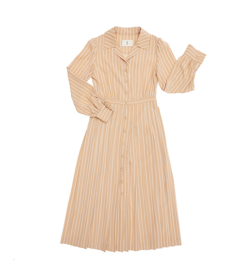 [AND YOU] [서현진 착용] MILANO notched collar shirt dress ( Beige pin stripe )