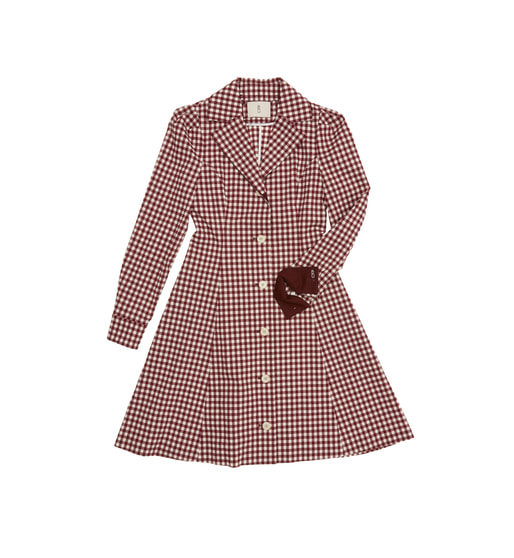 [AND YOU] BARCELONA notched collar shirt dress (Burgundy gingham check & Burgundy)