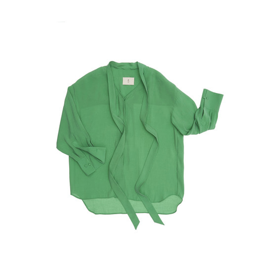 [앤유] ATHENS oversized tie blouse (Fresh green)