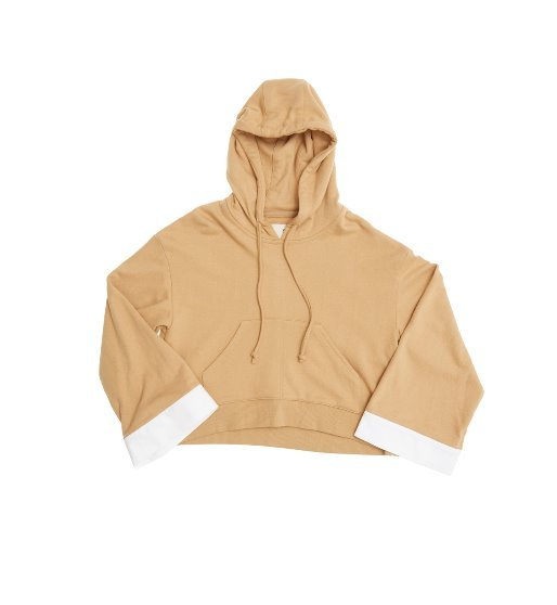 [앤유] SYDNEY over-sized short hoodie (Caramel beige & White)