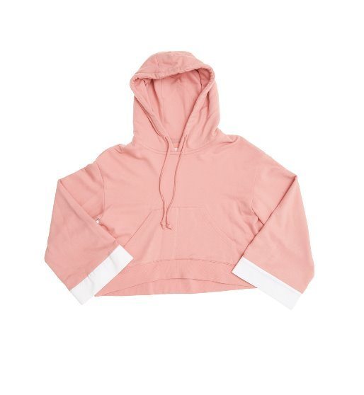 [앤유] [혜리 착용] SYDNEY over-sized short hoodie (Peach pink & White)