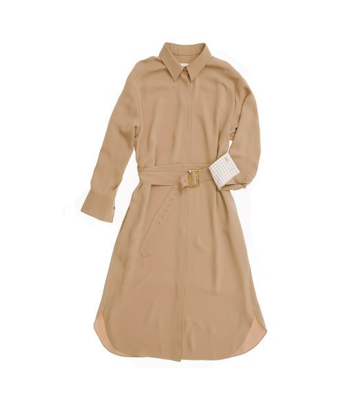 [앤유][박신혜 착용]SEOUL long sleeve shirt dress (Nude brown)