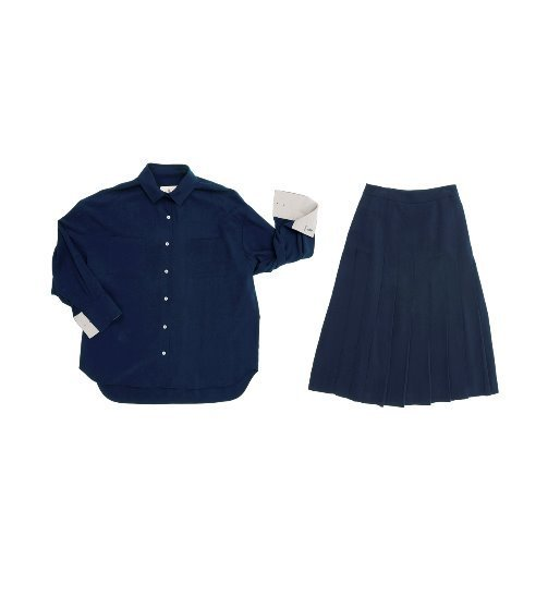 [앤유] VENICE oversized blouse (Royal navy & Light gray) & VENICE pleated skirt SET