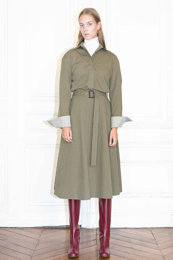 [앤유]CHAMPS ELYSEES flared belted skirt (Khaki)