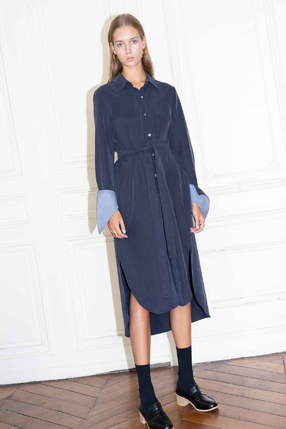 [앤유]COPENHAGEN long sleeve shirt dress (Navy & sky blue)