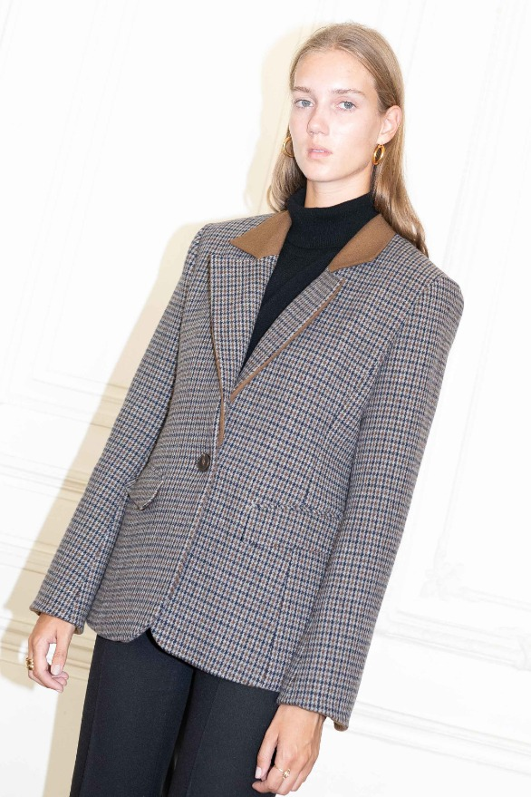 [앤유] VOLTAIRE detachable collar blazer Brown gingham check