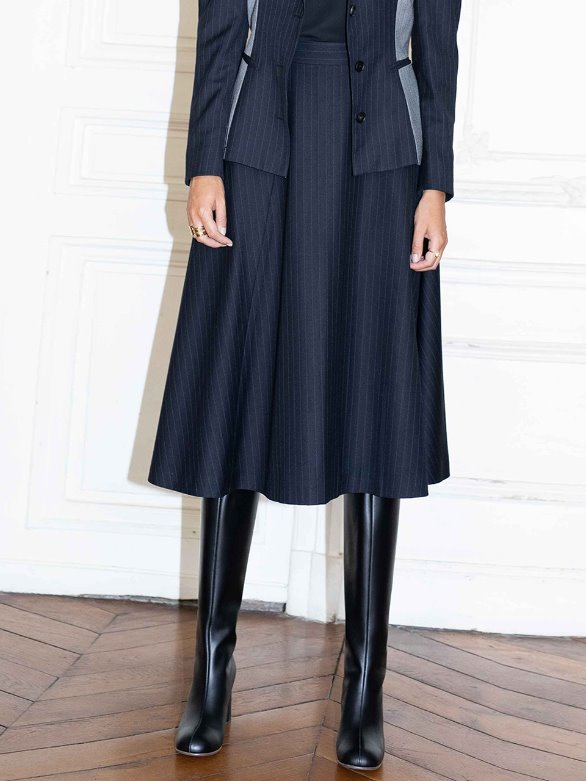 [앤유] CHAMPS ELYSEES flared belted skirt (Navy pin stripe)