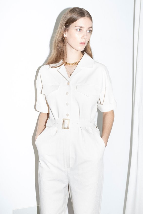 ABBOT KINNEY short sleeve safari jumpsuits (Cream)