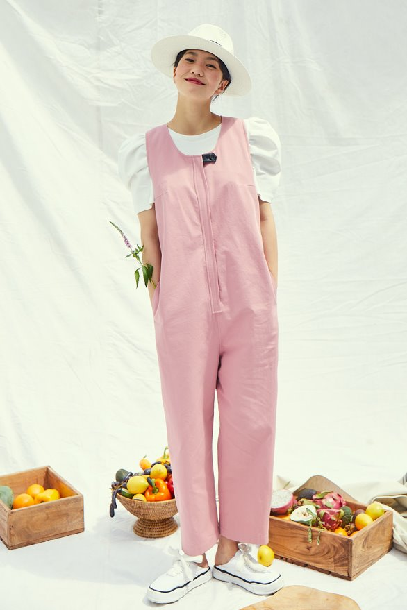 [앤유x이설]LAGUNA loose fit sleeveless romper (Indie pink)