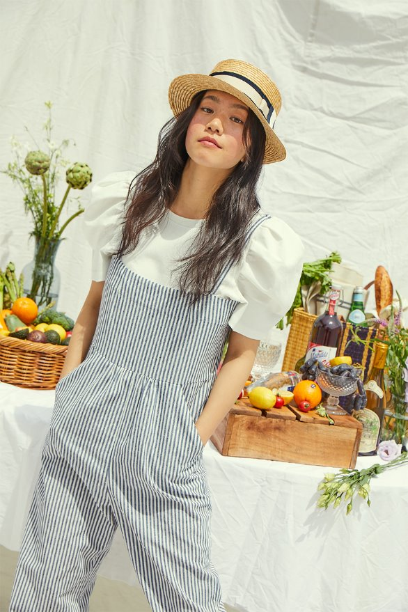 [앤유x이설]GRIFFITH PARK camisole overall (White and light navy stripe)