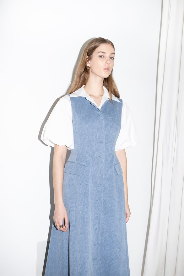 LAKEWOOD round neck button down A line sleeveless dress (Blue jean)