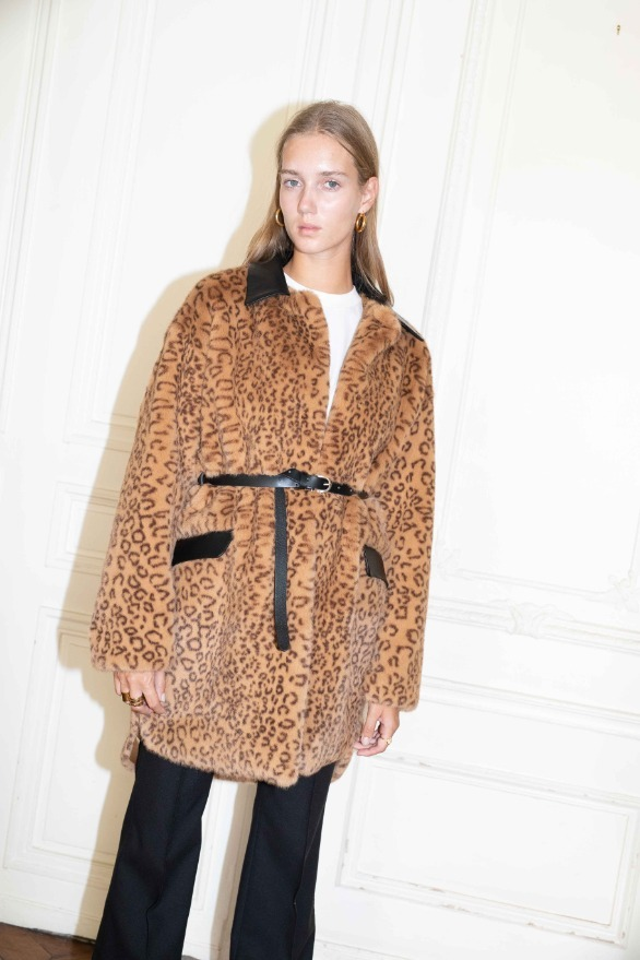 SAINT OUEN oversized coat (Leopard)