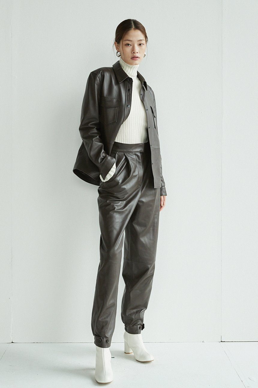 HONGDAE Leather jogger pants (Brown)