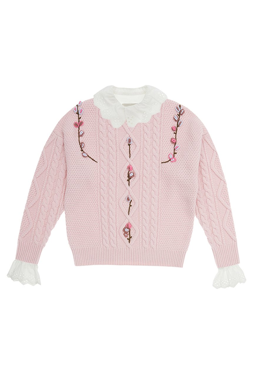 [SET][한지민착용]APGUJEONG Ruffled eyelet collar blouse (Off white) & CAMELLIA cable flower sweater (Baby pink)