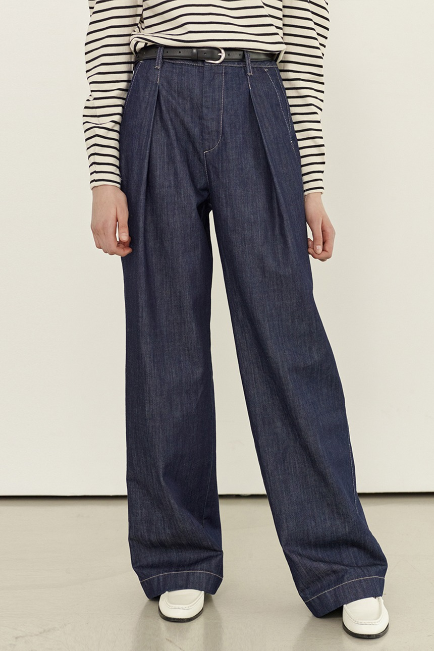 GASIRI Wide fit denim pants (Indigo blue)