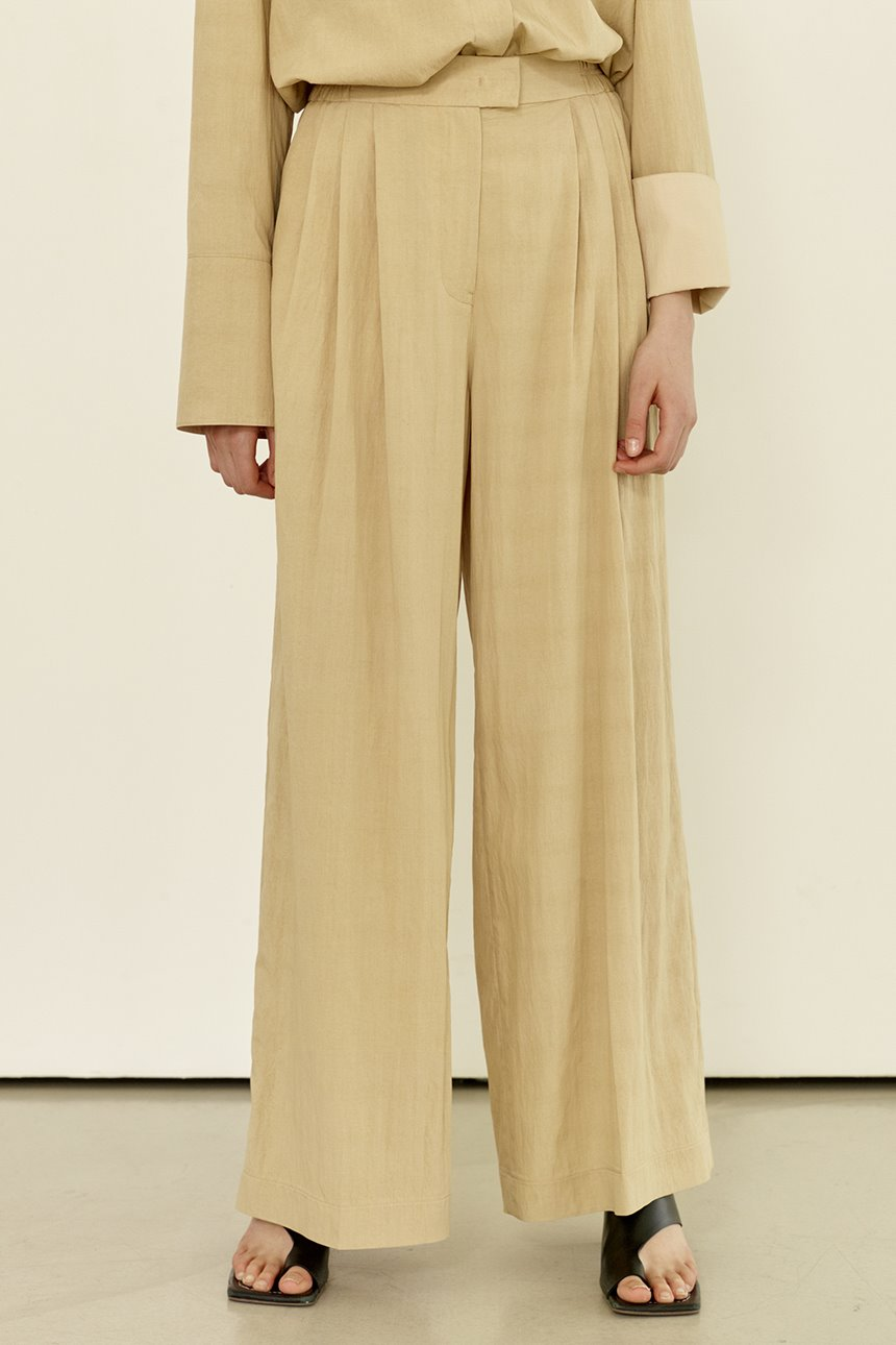 BIJARIM Loose fit banding wide pants (Light beige)