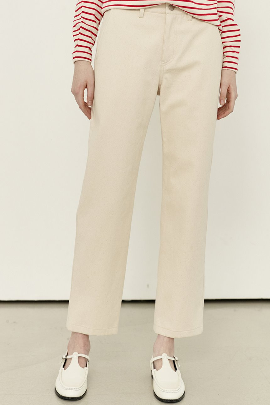 [앤유티비]SANSEMI Straight fit trousers (Cream)