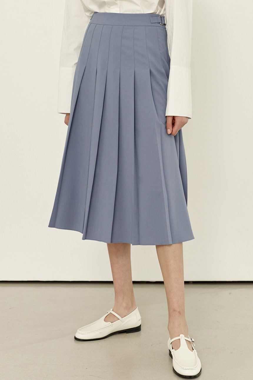 GOTJAWAL Pleated skirt (Blue gray)