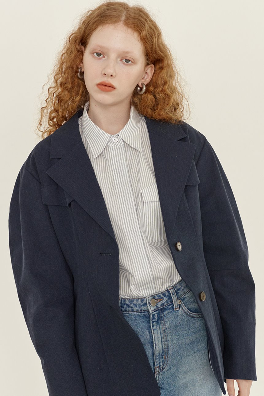 OKSU Voluminous sleeve blazer (Navy)