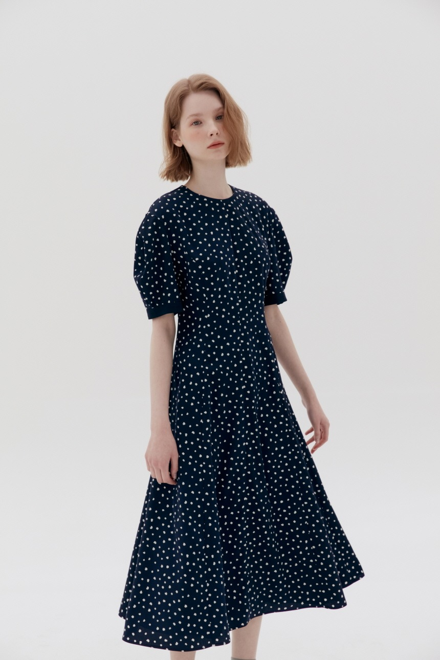 POSITANO Bishop short sleeve dress (Navy dot)