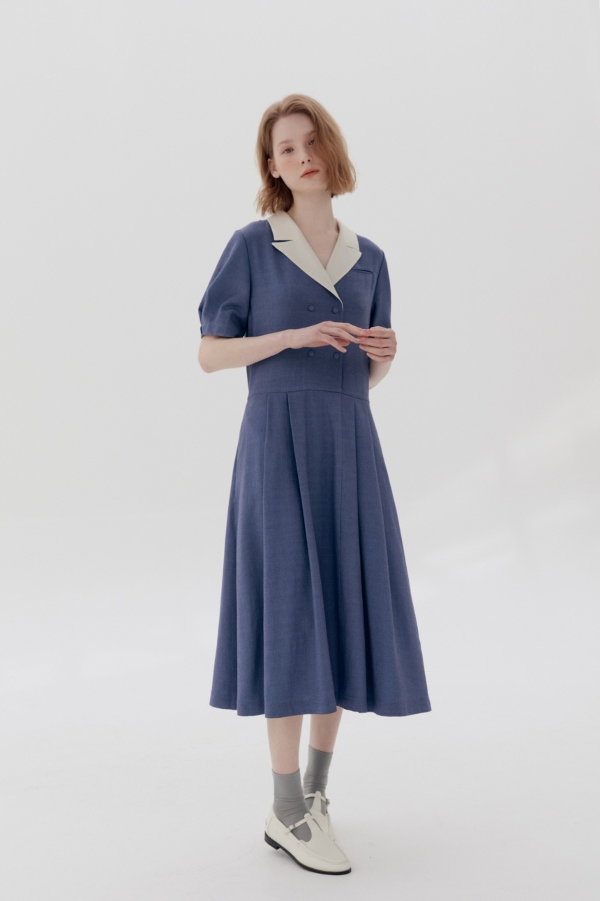 [5/21 예약배송]HYEOPJAE Double breasted notched collar dress (Conflower blue)
