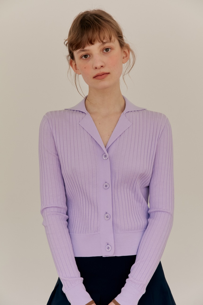 LOTUS Ribbed notched collar cardigan (Lavender)