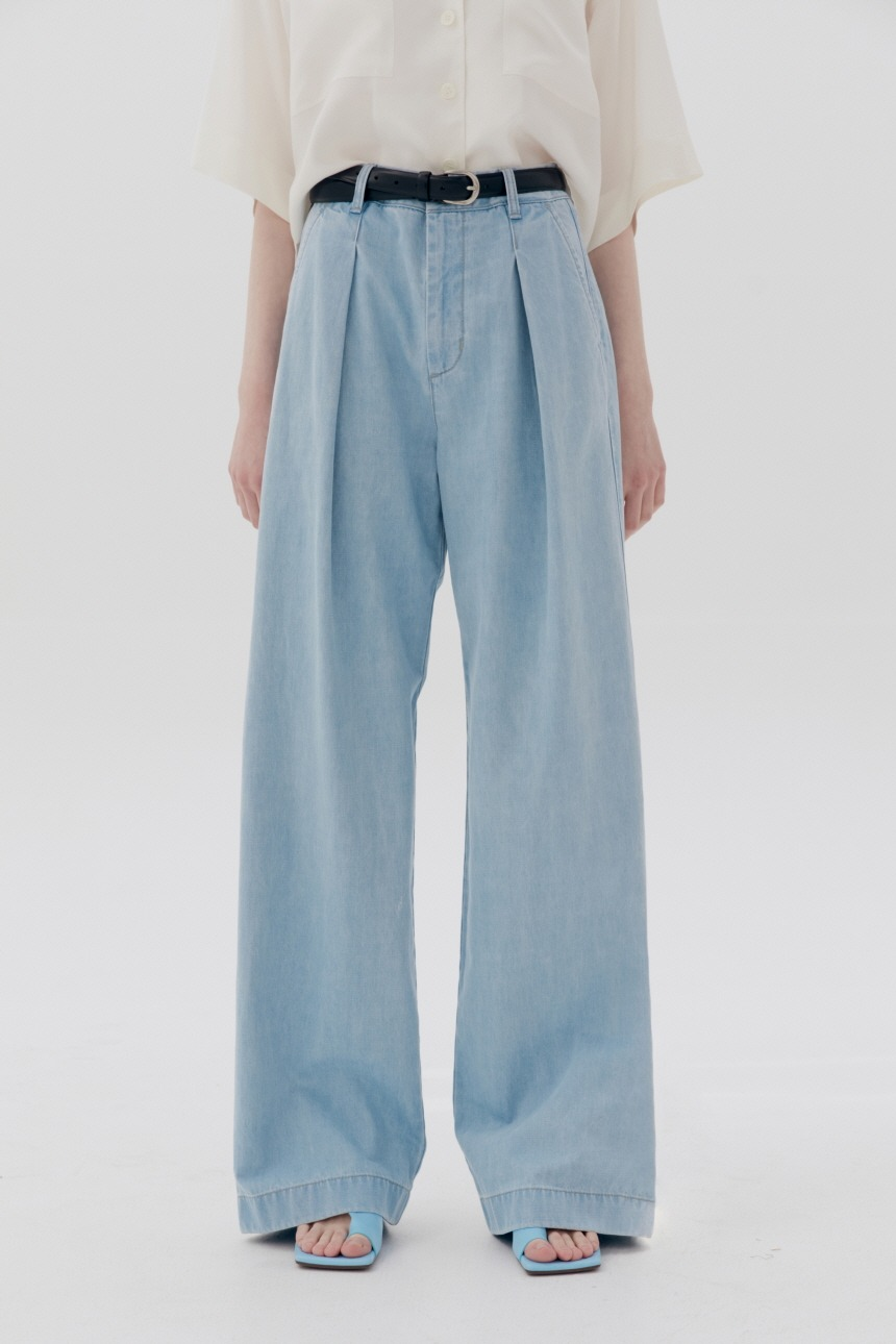 GASIRI Wide fit denim pants (Ice blue)