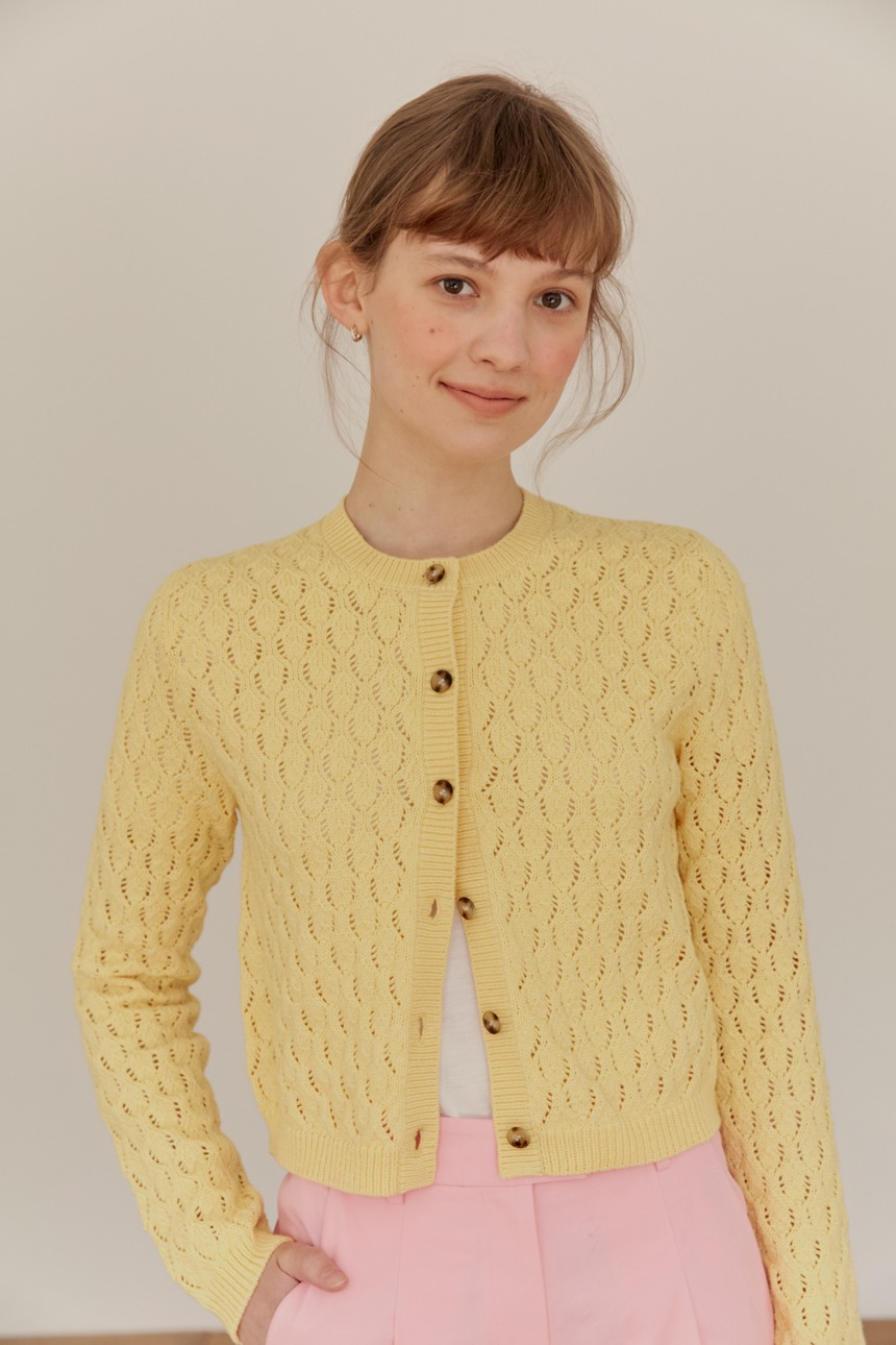 NARCISSUS Croche crew neck cardigan (Butter)