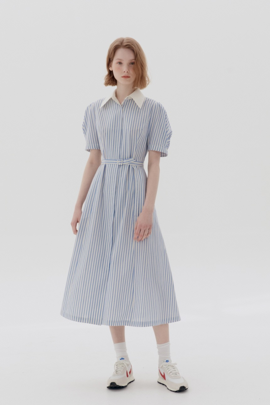 [5/21 예약배송]HANDAM Short sleeve shirt dress (Blue stripe)