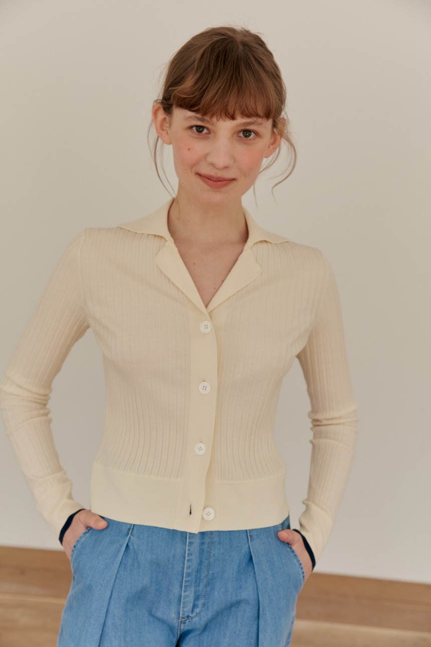 LOTUS Ribbed notched collar cardigan (Ivory)