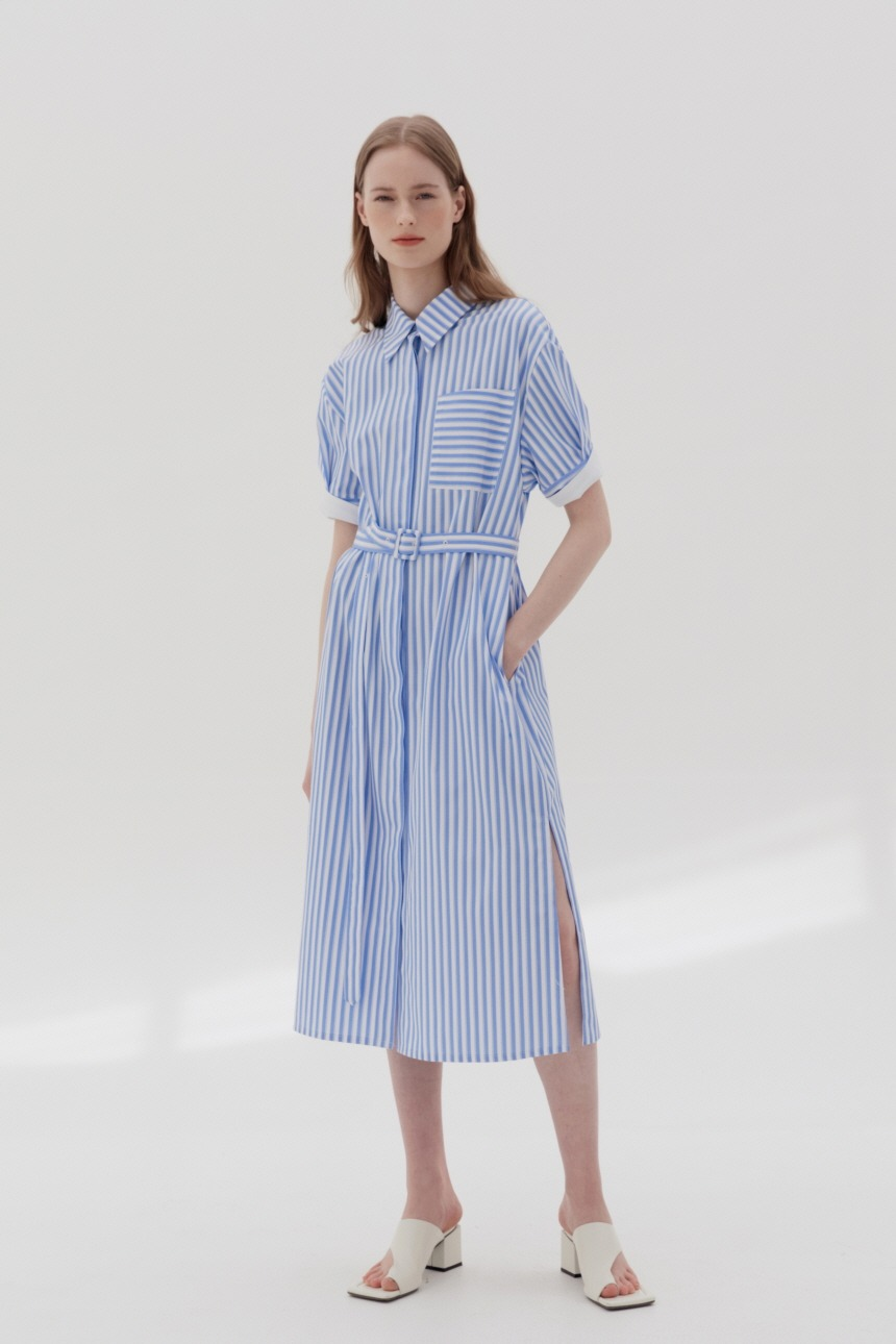 SINCHANG Shirt dress (Blue stripe)