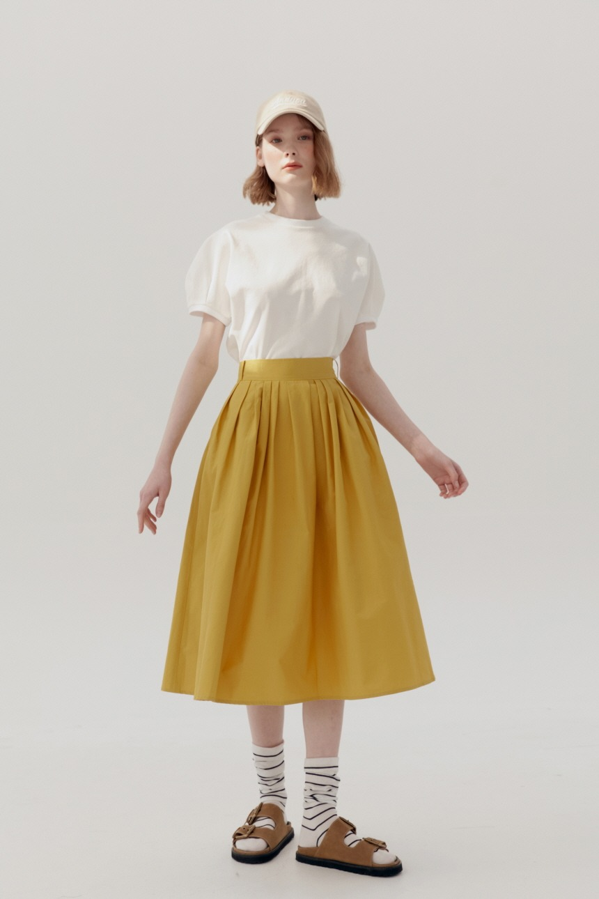 [앤유티비]BOROMWAT Flared skirt (Mustard)